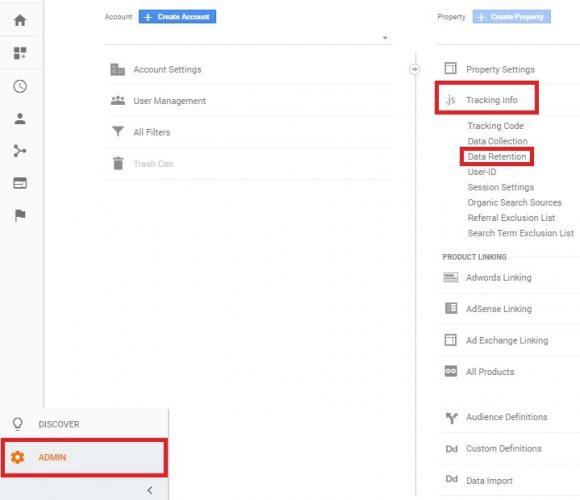 Google Analytics Admin Tracking Info