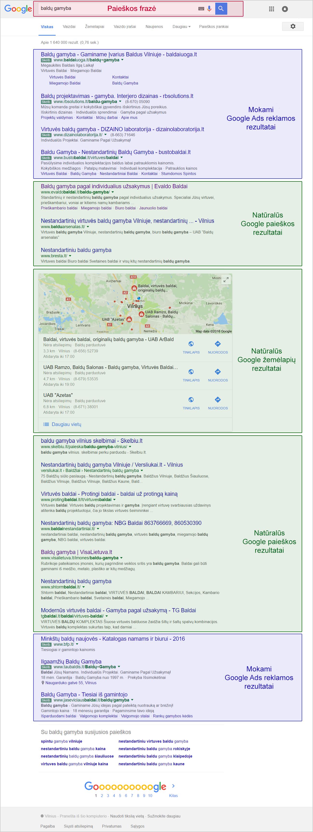 Google paieškos rezultatų puslapis